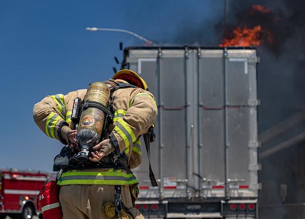 Tustin: Freeway Trailer Fire