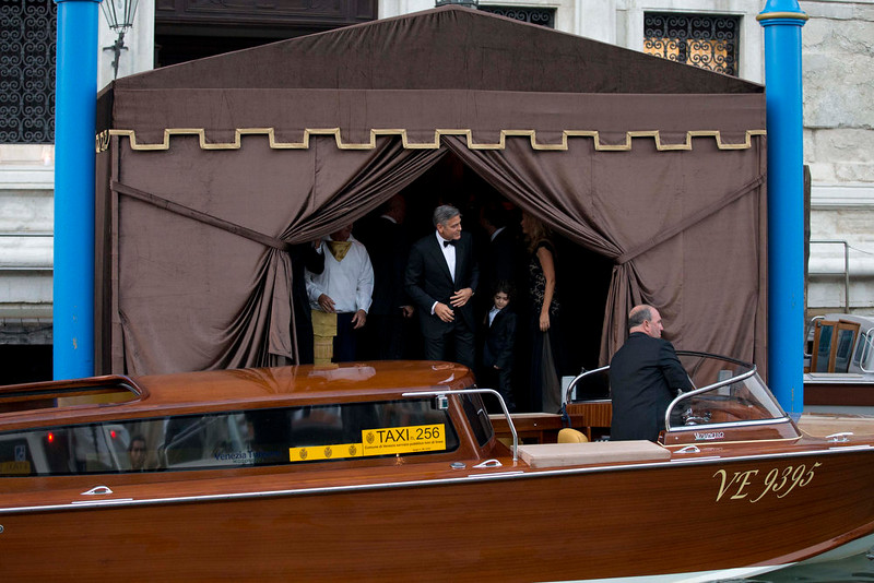 . George Clooney on his way to marry Almam Mudin, in Venice, Italy, Saturday, Sept. 27, 2014. (AP Photo/Andrew Medichini)