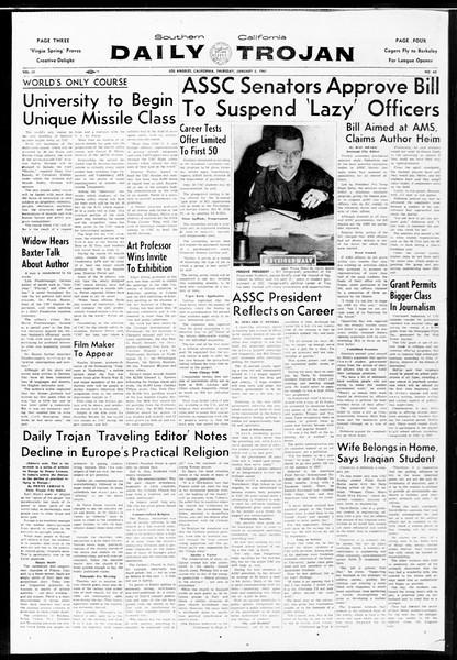 Daily Trojan, Vol. 52, No. 63, January 05, 1961
