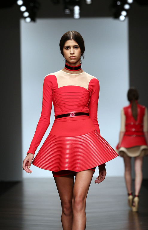 . LONDON, ENGLAND - FEBRUARY 16:  A model walks the runway at the David Koma show during London Fashion Week Fall/Winter 2013/14 at Somerset House on February 16, 2013 in London, England.  (Photo by Tim Whitby/Getty Images)