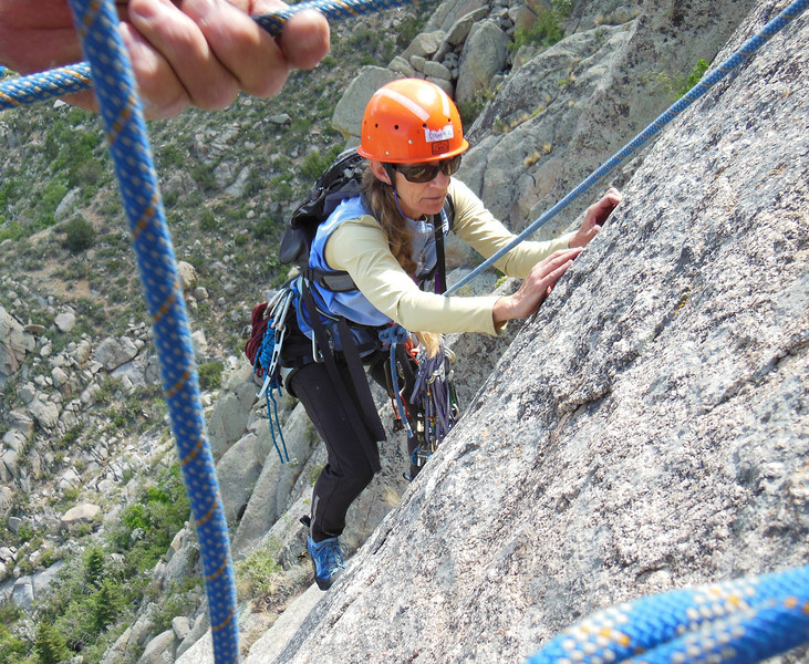 Diane at the crux, trusting those feet!