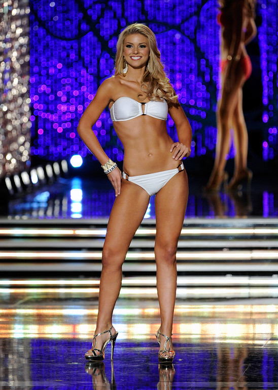 . Ali Rogers, Miss South Carolina, competes in the swimsuit competition during the 2013 Miss America Pageant at PH Live at Planet Hollywood Resort & Casino on January 12, 2013 in Las Vegas, Nevada.  (Photo by David Becker/Getty Images)