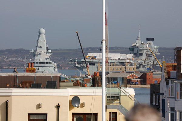 Royal Navy and Civilian Vessels Passing The Round Tower in Portsmouth March 2019