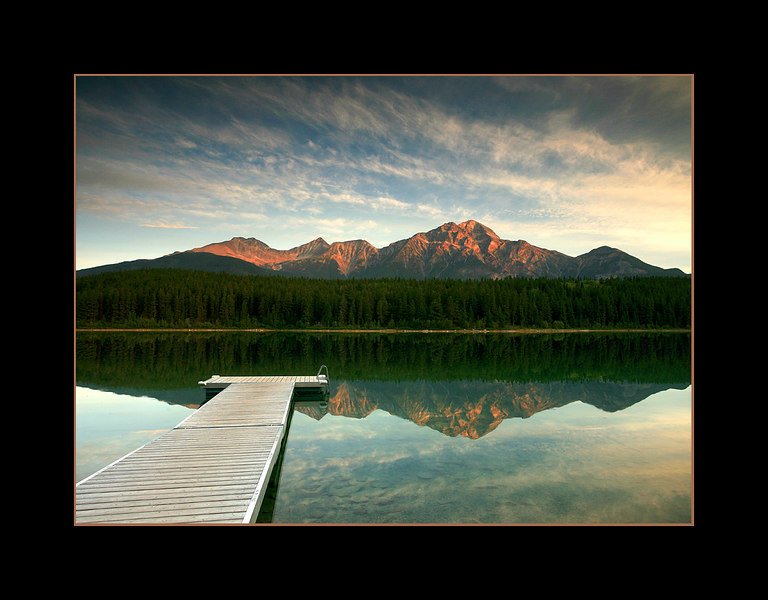 Sunrise over Patricia Lake and Pyramid Mountain, Jasper National Park