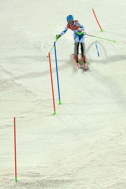 . Austria\'s Kathrin Zettel makes her run during ladies\' slalom run 2. Sochi 2014 Winter Olympics on Friday, February 21, 2014 at Rosa Khutor Alpine Center. (Photo by AAron Ontiveroz/ The Denver Post)