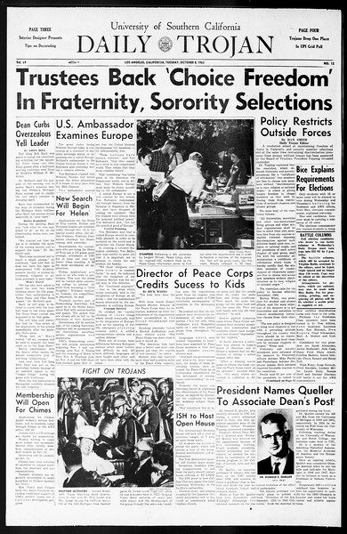Daily Trojan, Vol. 55, No. 12, October 08, 1963