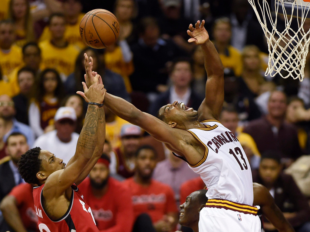 . Toronto Raptors guard DeMar DeRozan fouls Cleveland Cavaliers guard Tristan Thompson during the second half of Game 2 of the Eastern Conference finals on May 19 in Cleveland. Thompson led the Cavs in rebounds with 12, in the team\'s 108-89 victory. Cleveland leads the series, 2-0. (Frank Gunn/The Canadian Press via AP)