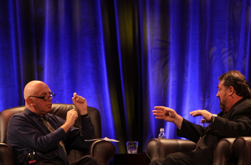 """Host Stephen Evans (L), Business Daily presenter, BBC World Service; with Mark Anderson, SNS CEO and FiRe Chair, in """"How the World Really Works, and Why Technology Will Lead the Economic Rebound"""""""