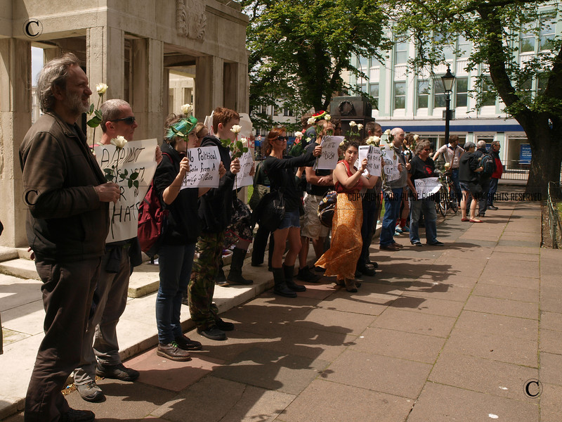 Demonstrators gather to ensure the family of Drummer Rigby wished are understood by EDL