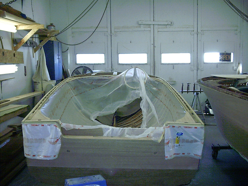 Rear view of boat masked off ready to glue down the deck.