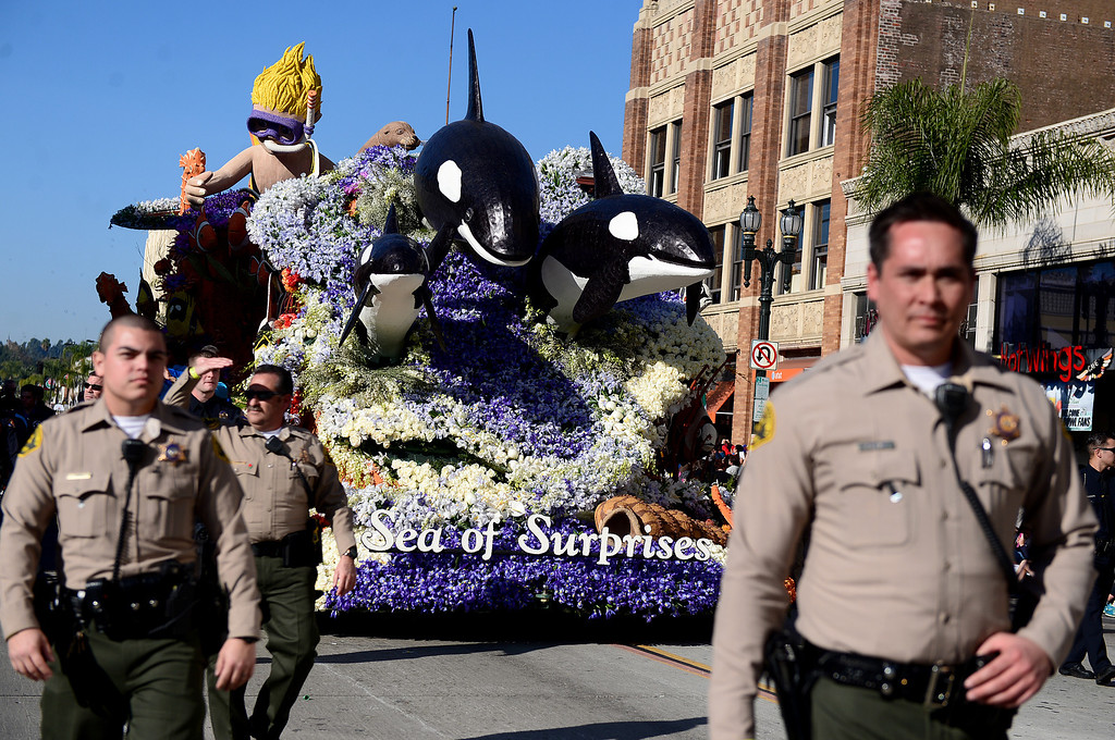 ". Seaworld Parks ""Sea of Surprises\"" float heads down Colorado Boulevard with heavy security during the 125th Rose Parade in Pasadena, CA January 1, 2014. (Photo by Sarah Reingewirtz/Pasadena Star-News)"
