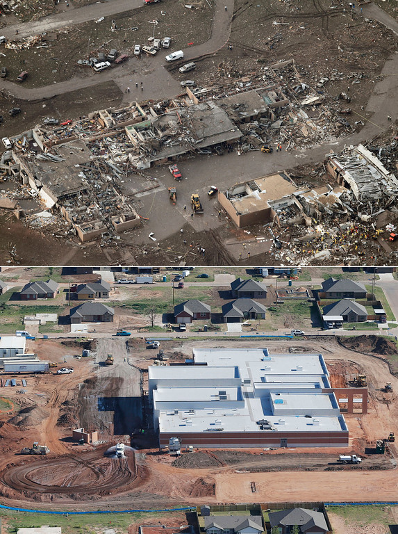 . This aerial photo combination shows the damage to the Tower Plazas Elementary School, May 21, 2013, in Moore, Okla., after seven students died when a massive tornado hit school on May 20, top, and reconstruction continues at the school on May 15, 2014, bottom. (AP Photo)