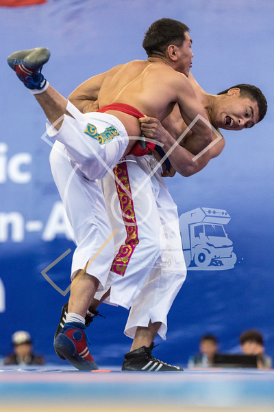 Two wrestlers in action during a Kyrgyz kurosh competition during the World Nomad Games 2018 in Kyrgyzstan.