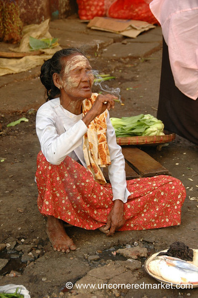 Burmese Old Woman Smoking - Rangoon, Burma (Yangon, Myanmar)