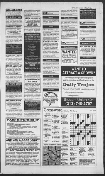 Daily Trojan, Vol. 129, No. 8, September 10, 1996