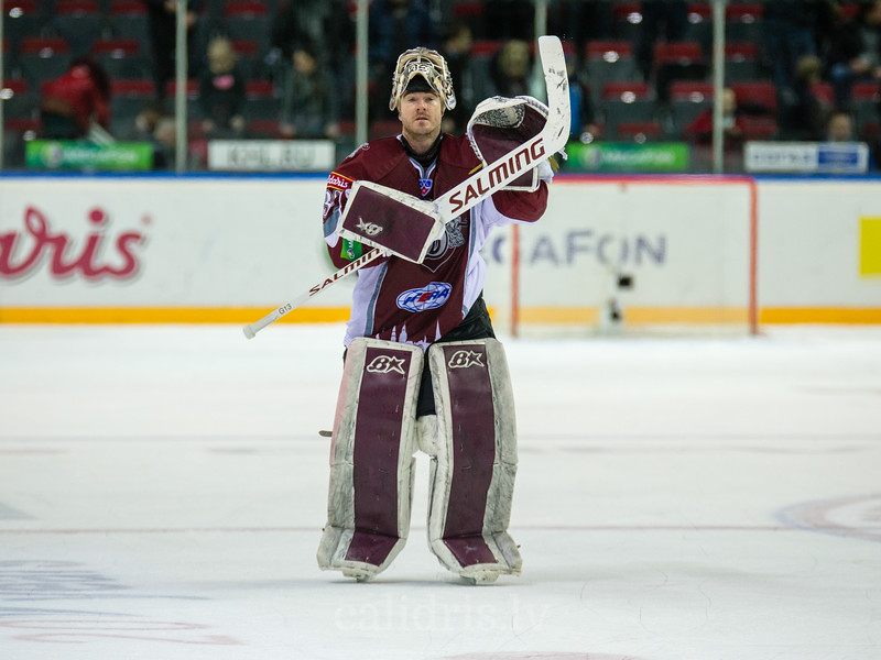 Goaltender of Dinamo Riga Mikael Tellqvist (32) after the first game in final series  of Nadezhda Cup in which Dinamo Riga won Amur Khabarovsk with final score 2:0