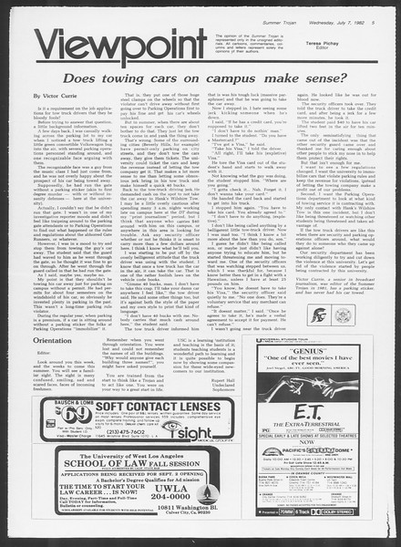 Summer Trojan, Vol. 91, No. 12, July 07, 1982