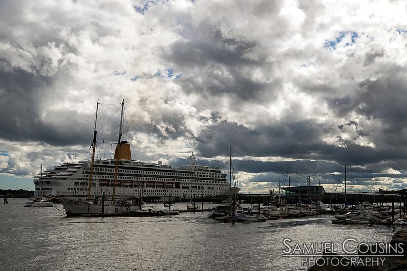 Cruise ship docked at the Ocean Gateway.