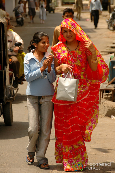 Bright Sari on the Streets of Udaipur, India