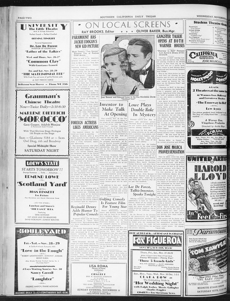 Daily Trojan, Vol. 22, No. 53, November 26, 1930