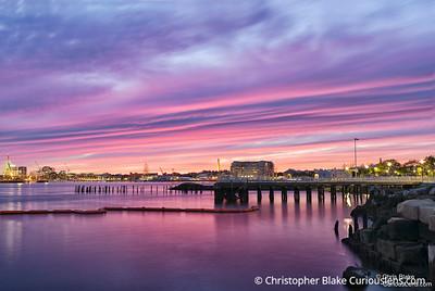 Pink Sky over Boston Harbor