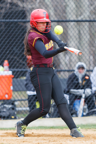 Sheehan's Missy Pereira (19) fouls off a pitch from Amity's Katie Koshes (2) Thursday at Amity Regional High School in Woodbridge Apr. 23, 2015 | Justin Weekes / For the Record-Journal
