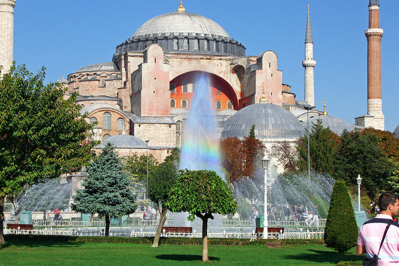 148. Hagia Sophia (Aya Sofya) and Sultanahmet Park Fountain.