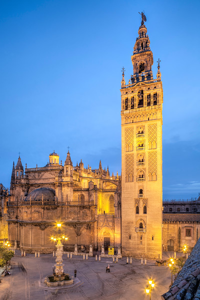 Giralda Tower and  Cathedral at dusk, Seville, Spain