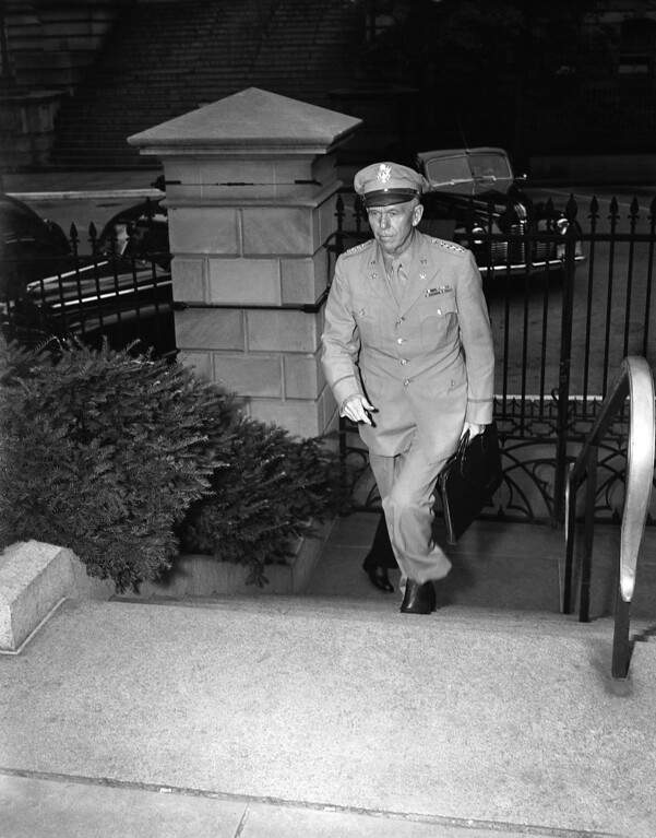. 1943: George Marshall. U.S. Army Chief of Staff General George C. Marshall arrives at the Executive Office of the White House in Washington on June 8, 1943, briefcase in hand, to report to President Franklin D. Roosevelt on his trip to North Africa where he conferred with Prime Minister Winston Churchill and Allied commanders. (AP Photo)