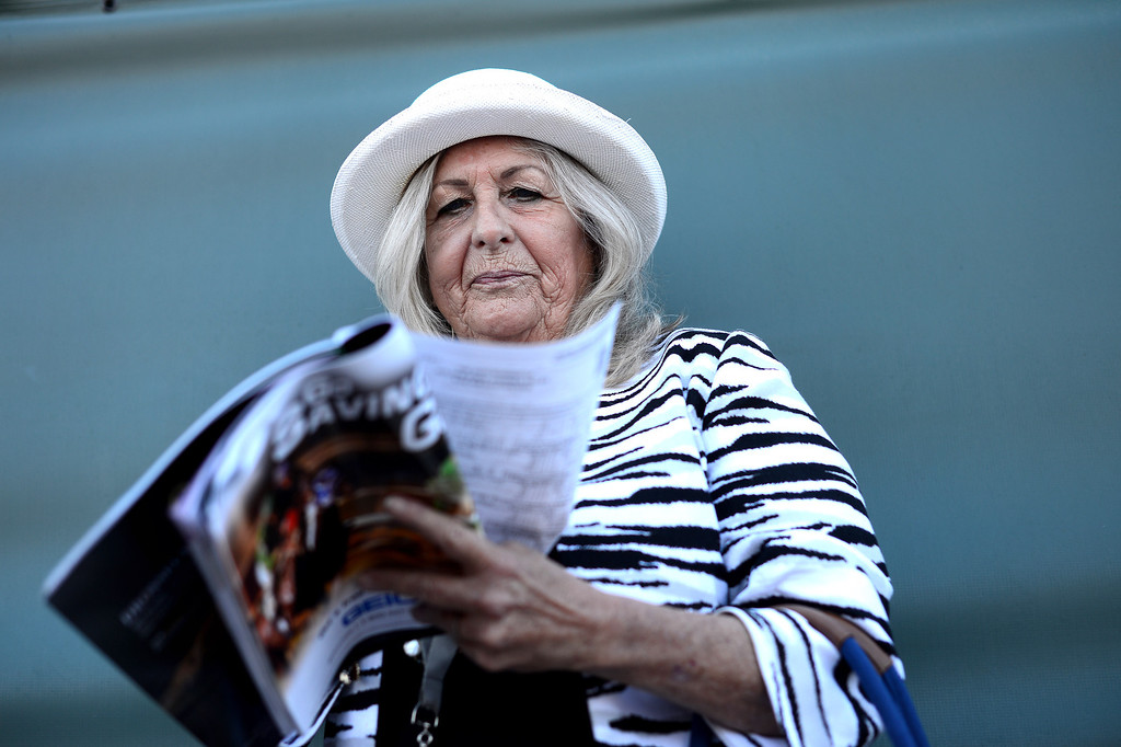 . Penny Stevens, of Laguna Woods, studies the horses during the Breeders\' Cup at Santa Anita Park in Arcadia Friday, November 1, 2013. (Photo by Sarah Reingewirtz/Pasadena Star-News)