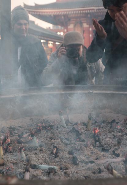Sensoji Temple in Asakusa through the smoke