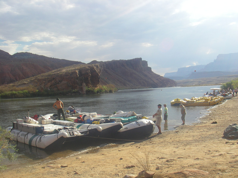 At Lee's Ferry preparation for new adventures: Motorized boat for a couple of weeks rafting (left one), and Paddle boats for a few weeks of paddling downstream the Colorado River.