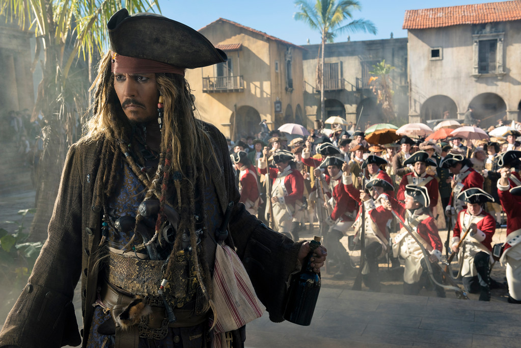 """. Johnny Depp portrays Jack Sparrow in a scene from \""""Pirates of the Caribbean: Dead Men Tell No Tales,\"""" in theaters May 26. (Disney)"""