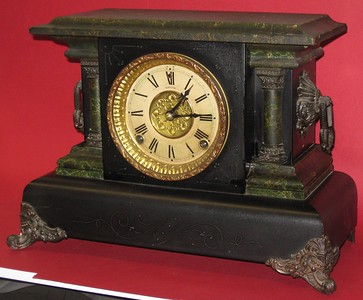 Welch Black Mantel Clock with Green Trim