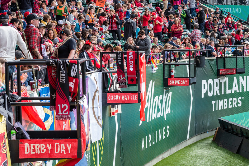 Derby Day / Lucky battle / So we say / F*** Seattle / Burma-Shave  Banners on the capo nests at Providence Park in Portland, Ore. ahead of the NWSL Playoff Semifinal between the Portland Thorns and Seattle Reign.