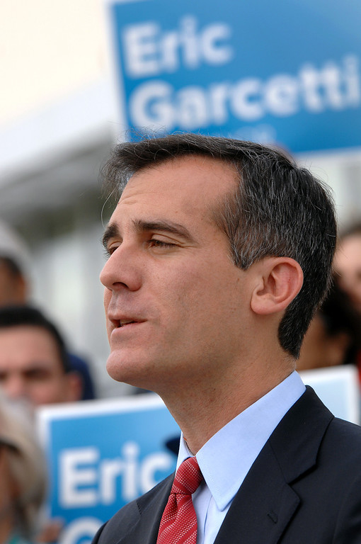. Mayoral candidate Eric Garcetti speaks at a press conference at Van de Kamp\'s Innovation Campus in Los Angeles, Wednesday, March 6, 2013. (Michael Owen Baker/Staff Photographer)