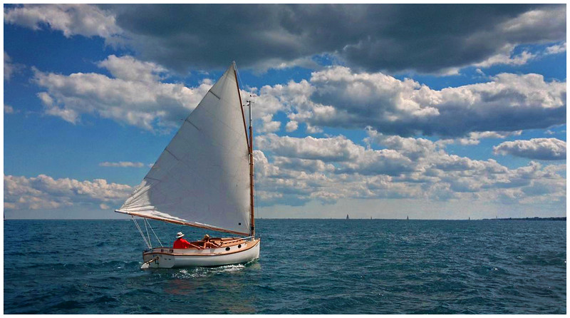 Catboat, Lake St. Clair,  SE Michigan.