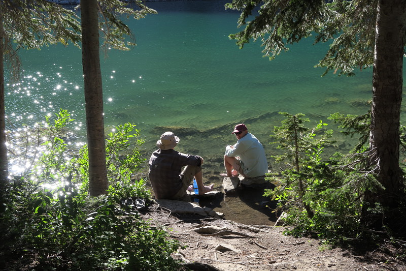 Greg and David cooling their feet in the cold waters of Marion Lake