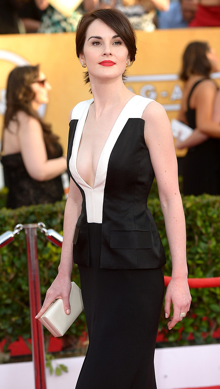 . Michelle Dockery arrives at the 20th Annual Screen Actors Guild Awards  at the Shrine Auditorium in Los Angeles, California on Saturday January 18, 2014 (Photo by Michael Owen Baker / Los Angeles Daily News)