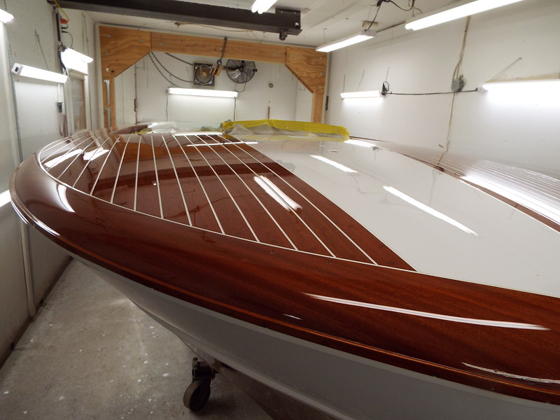 Close up view of the starboard front deck finish.