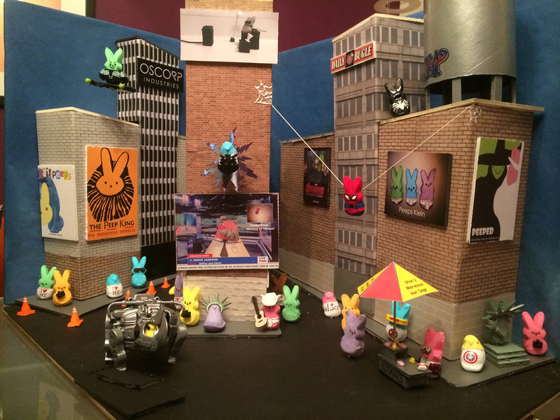 . The Amazing Spider-Peep takes on three of his biggest foes Green Goblin, Electro and The R.Y.N.O. in Peeps Square (Michael Sharp)