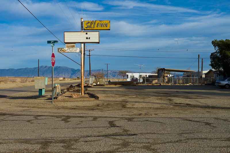 No more skiing in at Bombay Beach. One of the few commercial places around and only one grocery store appeared to be open.