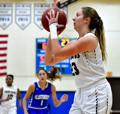 3/1/2019 Mike Orazzi | Staff Newington High School's Maya Gajowiak (23)during the Class LL Second Round of the CIAC 2019 State Girls Basketball Tournament at Newington High School Friday night.
