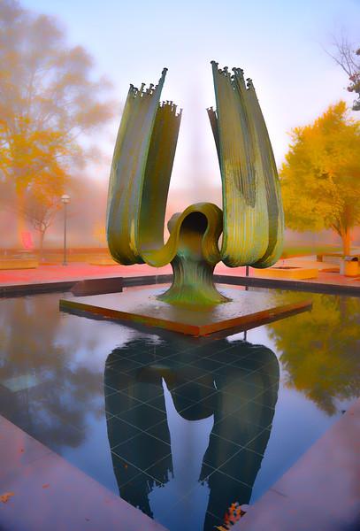 Memorial Fountain Morning Fog, November 2015 -Rick Haye
