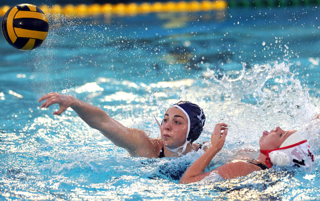 . Crescenta Valley\'s Shannon Hovanesian (#12) makes a goal attempt as they play Redlands East Valleyin the Southern Section Div. V semifinals girls water polo game at Whittier College\'s Lillian Slade Aquatics Center on Wednesday February 20, 2013. Crescenta Valley beat Redlands East Valley 14-4. (Staff photo by Keith Durflinger)