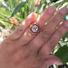 3.12ct Old European Cut Diamond Ruby Halo Ring, GIA L  19