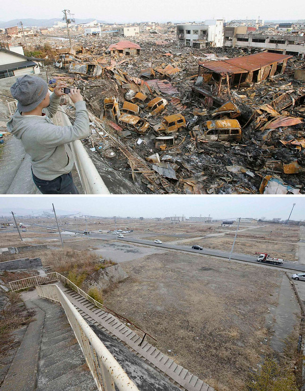 . The tsunami-devastated Ishinomaki, Miyagi prefecture, is pictured in this combination photo taken March 19, 2011 (top) and March 1, 2013, released by Kyodo on March 7, 2013, ahead of the two-year anniversary of the March 11 earthquake and tsunami.      REUTERS/Kyodo