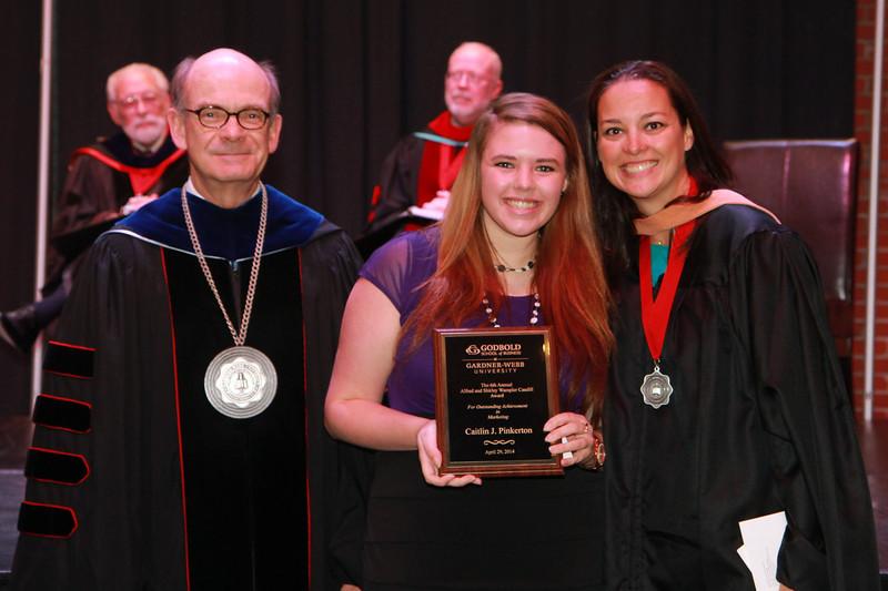59th Academic Awards Day; Spring 2014. Alfred and Shirley Wampler Caudill Marketing Award: Caitlin Jenae Marie Pinkerton