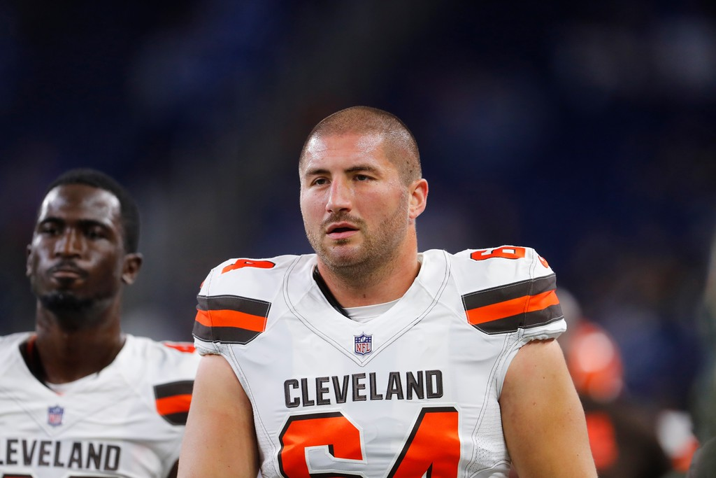 . Cleveland Browns offensive guard Chris Barker (64) seen during pregame of an NFL football game against the Detroit Lions, Sunday, Nov. 12, 2017, in Detroit. (AP Photo/Paul Sancya)