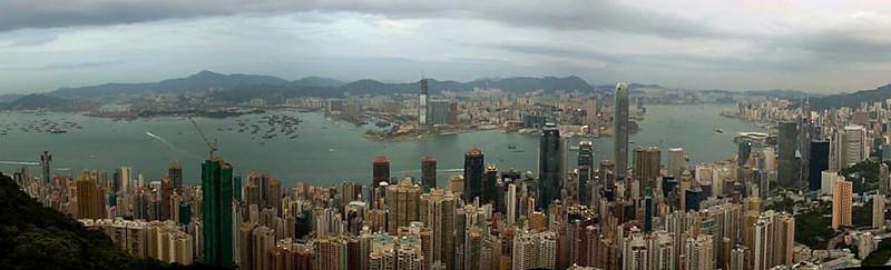 Hong Kong Skyline day from Victoria Peak (2), Hong Kong, China (11-8-08).psd